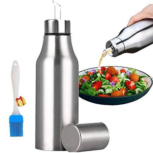 Mgee Botella de Aceite Aceitera Antigoteo 750ml, Dispensador de Aceite, Acero Inoxidable Pulverizador para Cocina (Plata)