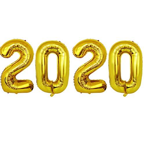 STOBOK 2020 Folienballons Heliumballon, 40 Zoll Gold 2020 Nummer Luftballons für Abschluss Hochzeit Weihnachten Neujahr Party Dekoration
