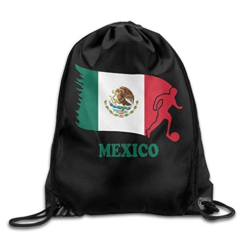 uykjuykj Bolsos De Gimnasio,Mochilas,Mexico Football Soccer Flag Drawstring Pack Beam Mouth School Travel Backpack Shoulder Bags For Men Women Lightweight Unique 17x14 IN