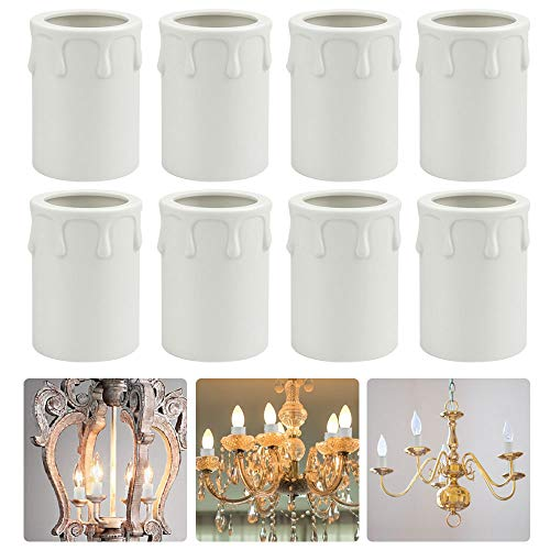 EMAGEREN 8 Pack Candle Drip Sleeves 43 * 60mm Candle Socket Covers Chandelier Candle Sleeves Plastic Covers Tubes Candelabra Base for Most Chandeliers Wall Light and Christmas Decoration, White