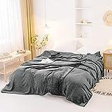 "Bownew Extra Large Flannel Blanket Luxury Fleece Velvet Blankets 300 GSM Plush Microfiber Bedding - 120"" x 120"" (Gray)"