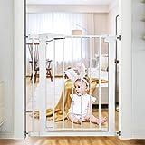 ベビーゲート ペットゲート 突っ張りゲート 赤ちゃんガード柵 ペット柵 扉開閉式 ホワイト 70~77cm(拡張フレーム含む)