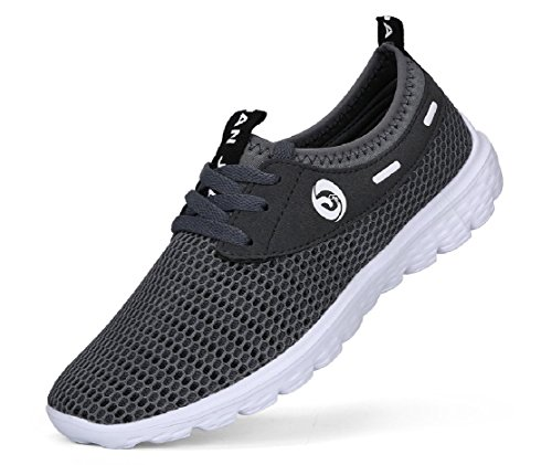 JUAN Men's Lightweight Slip On Fashion Mesh Sneakers Breathable Running Shoes Athletic Outdoor Casual Sport Shoes (44 M EU / 10 D(M) US, Grey)