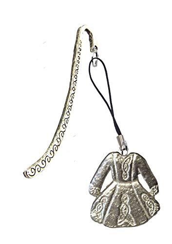 Derbyshire UK FT64 - Vestito da solo per danza celtica, 3 x 3 cm, realizzato in peltro inglese su un segnalibro a motivo
