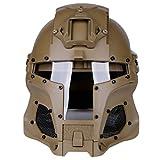 MAJOZ0 - Casco táctico, estilo medieval, con raíl lateral y lente de PC para airsoft, paintball, juegos de guerra