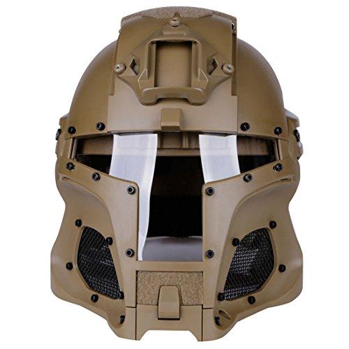 Gettesy Casco táctico, máscara completa táctica para airsoft, paintball, con máscara y gafas de protección para Nerf Rival, Nerf, fiesta, Halloween, CS