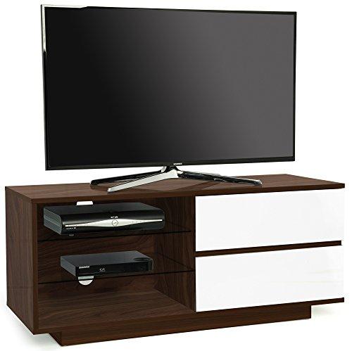 Centurion Supports Gallus Premium Noce con 2-Bianchi Cassetti e 3-Mensole 32'-55' TV/OLED/LCD Cabinet LED - Edizione Limitata