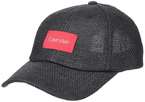 Calvin Klein Women's Straw Baseball Hat W/Logo Patch, Black, One Size