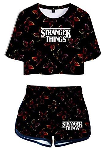 Yesgirl Donna Stampa 3D Streetwear Stranger Things Chakater Maglietta e Pantaloncini Moda Due Pezzi Tuta Sportiva B Nero Medium