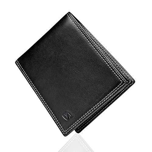 SERASAR | Echt Lederen Portemonnee voor Mannen in Zwart en Bruin | 12 Kaartsleuven | RFID-Bescherming | Exclusieve Geschenkdoos | Geweldig Cadeau-Idee