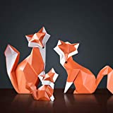 JNDM Resina geométrica Minimalista Moderna Fox Animal Estatua casera Escultura Decoración Adornos Muñeca de Escritorio Decoración del hogar Hecho a Mano Alta producción-Set