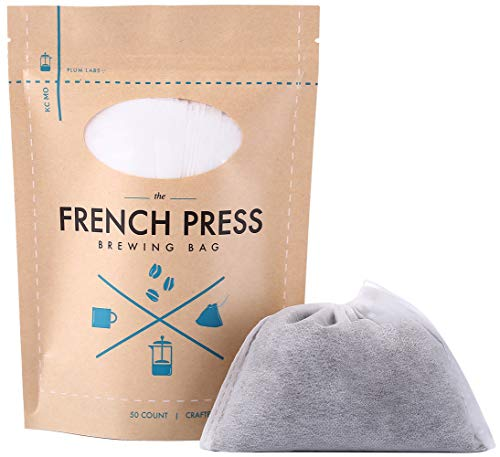 The Original French Press Brewing Bags - 50 EasyFill Fine Mesh Disposable Coffee Filters For Your French Press Coffee Maker - Perfect for Mason Jar Cold Brew, Beer Hops, Tea, Spice Sacks 6'x4' White