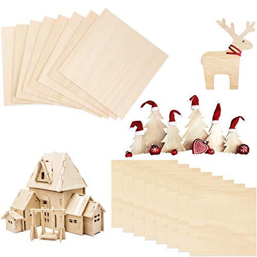 16 Pezzi Fogli di Legno Balsa Compensato di Legno Naturale Tavola di Legno Hobby per Artigianato Fai da Te Natale Modello di Barca Nave Aeroplano Casa in Legno (100 x 100 x 1.5 mm)