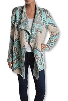 RENEEC Women s Mint Aztec Print Open Front Chunky Cardigan Sweater Knit  Large Mint