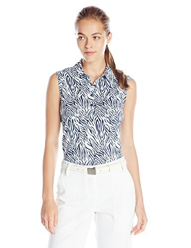 Greg Norman Collection Women's Animal Print Polo Shirt, White, XX-Large