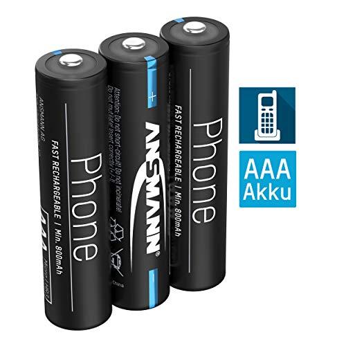 ANSMANN Telefon Akku AAA 800mAh NiMH 1,2V - Phone DECT Micro AAA Batterien wiederaufladbar mit geringer Selbstentladung ideal für Schnurlostelefone und Babyphones (3 Stück)