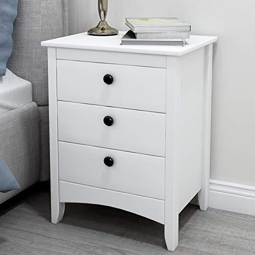 Weiß Nachttische skandinavisch Schubladenschrank mit 3 Schublade Nachtschrank Beistelltisch für Wohnzimmer Schlafzimmer Badezimmer, 45 x 36 x 61 cm