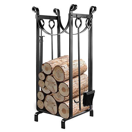 Pinty Firewood Log Rack with Tools, Indoor Wood Storage Rack...
