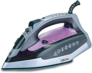 Clikon - Automatic Shut-Off Steam Iron, 8 minute on Vertical / 30 Seconds on Horizontal, Self Cleaning Function, Grey Color with Purple,Silver & Black Accents - CK4117