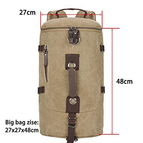 Large capacity men's travel bag mountaineering backpack men's bag canvas bucket shoulder bag-khaki large