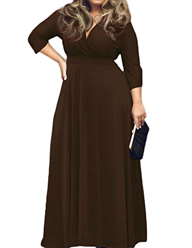 POSESHE Women's Solid V-Neck 3/4 Sleeve Plus Size Evening Party Maxi Dress Coffee 4X-Large