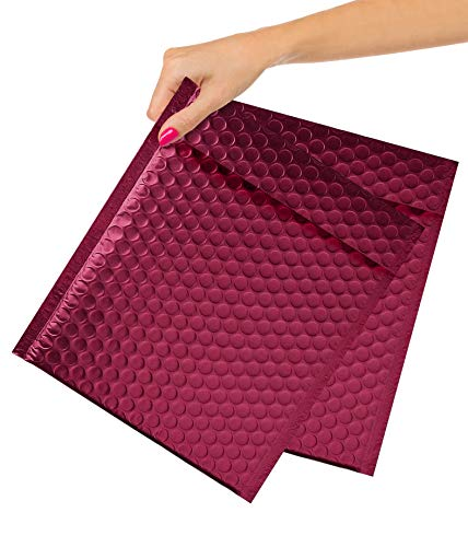 ABC 100 Pack Bordeaux Metallic Bubble mailers 8.5 x 11. Matte Colorful Mail Envelopes 8 /12 x 11 Bubble Lined Poly Mailers. Bubble Padded Envelopes. Peel and Seal. Shipping Bags for Mailing, Packing.