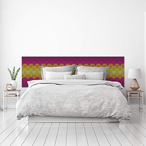MEGADECOR Cabecero Cama PVC Decorativo Económico Diseño Abstracto Estilo Japonés Multicolor Varias Medidas (115 cm x 60 cm)