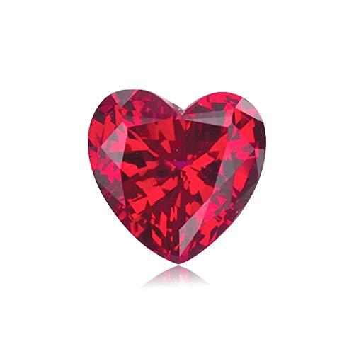 Mysticdrop 4.61-5.63 Cts of 10 mm AAA Heart Cut Swiss Rough Synthetic Corundum Ruby (1 pc) Loose Gemstone