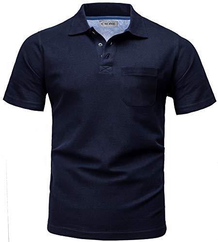 Crone Menzino Basic Kurzarm Herren Pique Poloshirt Regular Fit mit Brusttasche (XL, Navy)