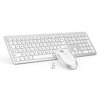 Wireless Keyboard and Mouse Combo - Full Size Slim Thin Wireless Keyboard Mouse with Numeric Keypad with On/Off Switch on Both Keyboard and Mouse - White & Silver