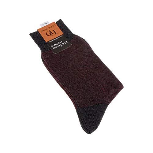Socke über das Kalb - 1 paar - verstärkte Ferse - Verstarkte zehen - Flachnaht - Ohne Kompressoren - ohne Frotte - Bunte Ferse - Fine - Coton - Rouge - DD - 44/45
