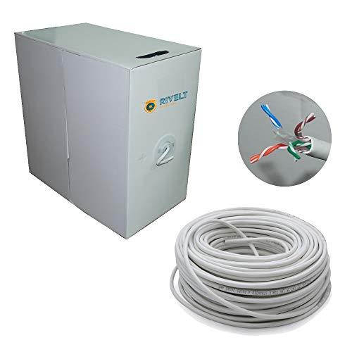 Rivelt - Cable de red Ethernet de 305 m, CAT6, AWG23, CCA, UTP, RJ45, bobina de red, color blanco (305 metros)
