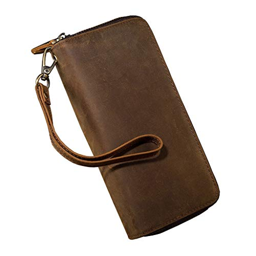 YQQMC Men's Genuine Leather Zip Around Wallet Clutch Wristlet Travel Long Purse Durable (Color : Brown)