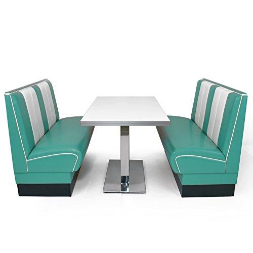 möbelland24 American Diner Set türkis Viber 2X Sitzbank 120cm + Diner Tisch