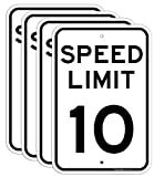 (4 Pack) Speed Limit 10 MPH Sign, Slow Down Sign, Traffic Signs,18 x 12 Inches Engineer Grade Reflective Sheeting, Rust Free Aluminum, Weather Resistant, Waterproof, Durable Ink, Easy to Mount