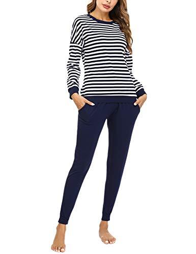 Doaraha Pijamas Algodón para Mujer Estampado de Rayas Ropa de Dormir Camiseta Manga Larga con Pantalones Larga Puño Elástico Conjunto de Pijamas Suave y Transpirable