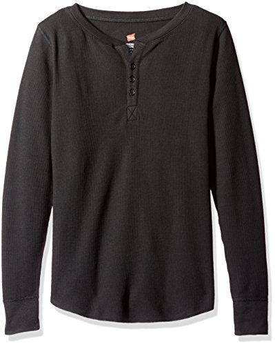 Hanes Plus Size Women's Ultimate Thermal Henley, Black, Small