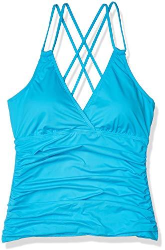 La Blanca Women's Plus Size Island Goddess Underwire Cross Back Tankini Swimsuit Top, Poolside, 22W