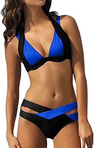 Saoye Fashion Bikini Loveso 2020 Damen Elegant Weiß Und Schwarz Bikini Sets Fiesta Kleidung Neckholder Push Up Bademode Zweiteilig Strandmode (Color : Blau, Einheitsgröße : L)