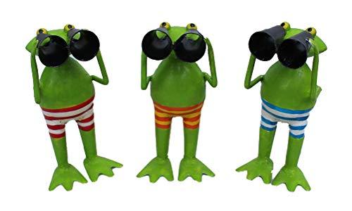 Exner Kleiner lustiger Deko-Frosch Garten-Deko Metall-Frosch mit Fernglas Spanner Metall bemalt ca. 15 cm hoch Preis für 2 Stück