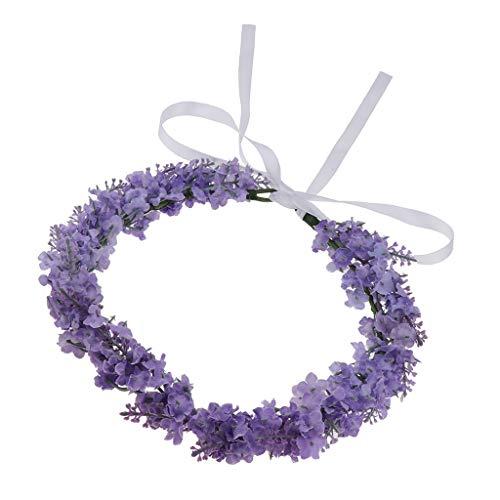 P Prettyia Flores de Guirnalda de Tela Tiara Niña Aceesorios para Pelo - Violeta Claro