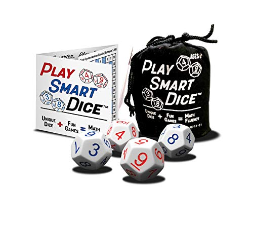 PlaySmart Dice: Uniquely Numbered Dice System with 5 Fun Math Games That Helps Kids Master Addition and Mulitplication Skills