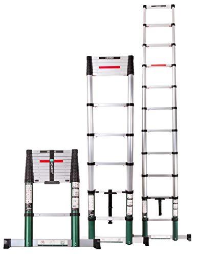 VONROC Profi Teleskopleiter 3,2 Meter, gemäß DEKRA-Zertifizierung und EN 131, sehr robust gebaut und montiert für Ihre Sicherheit – mit Softclose-System und Querträger für zusätzliche Stabilität