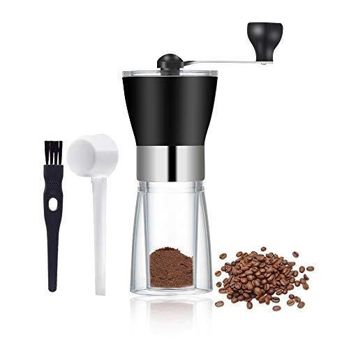 Zubita Macina caffè Manuale, Portatile in Acciaio Inossidabile Mano macinacaffè macina per caffè, Macinino per Chicchi di caffè o Spezie Adatto al Turismo (Nero)