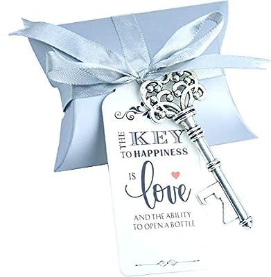 Aokbean 50pcs Wedding Favor Souvenir Set Pillow Candy Box Vintage Skeleton Key Bottle Openers Escort Gift Card and French Ribbon(Silver)