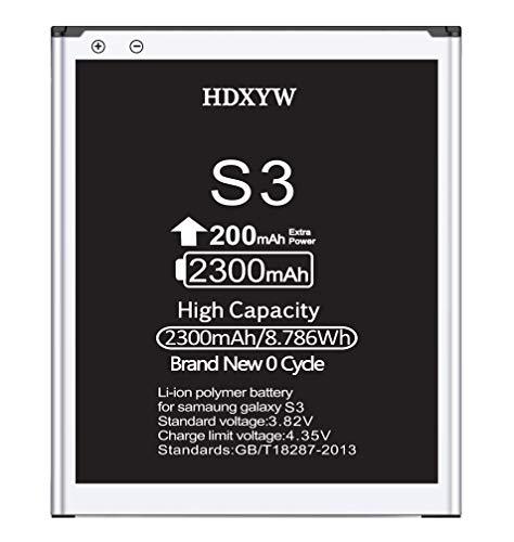 HDXYW Akku Samsung Galaxy S3 Verbesserte Ersatz Handy-Akku hohe Kapazität 2300mah Ersatz Hochleistungsakku Funktioniert mit S3