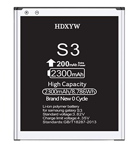 HDXYW Akku Samsung Galaxy S3 Verbesserte Ersatz Handy-Akku 2300mah Ersatz Hochleistungsakku Funktioniert mit S3