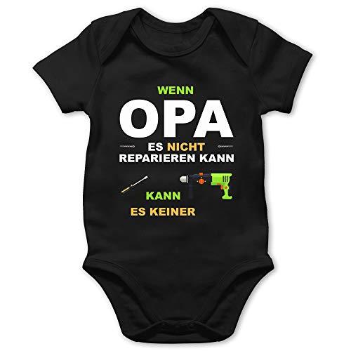 Strampler Motive - Wenn Opa es Nicht reparieren kann kann es keiner - 1/3 Monate - Schwarz - Strampler oma und Opa - BZ10 - Baby Body Kurzarm für Jungen und Mädchen