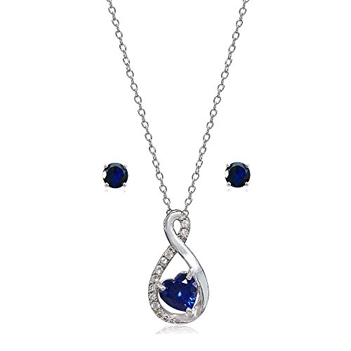 Lovve Sterling Silver Created Blue Sapphire & White Topaz Infinity Heart Necklace Earrings Set - http://coolthings.us
