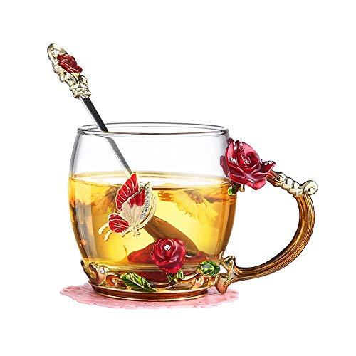 Kyhon Teetasse aus Glas Rote Rose Glasklare Neuheit Glas Teetasse Kaffeetassen Reisebecher mit aufw?ndigem Blumengriff und sch?nem L?ffel Thanksgiving